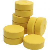 Pastilles de peinture Tempera, H: 19 mm, d: 57 mm, jaune, 10 pièce/ 1 Pq.