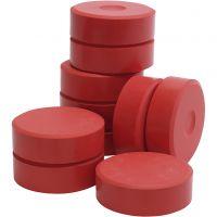 Pastilles de peinture Tempera, H: 19 mm, d: 57 mm, rouge, 10 pièce/ 1 Pq.