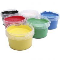 Peinture au doigt, couleurs assorties, 6x250 ml/ 1 Pq.