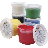 Peinture au doigt, couleurs assorties, 6x100 ml/ 1 Pq.
