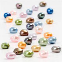 Perles d'eau douce, dim. 5-6 mm, diamètre intérieur 0,5 mm, 40 cm/ 1 Pq.