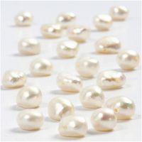 Perles d'eau douce, dim. 4-6 mm, diamètre intérieur 1 mm, nacré, 40 cm/ 1 rang
