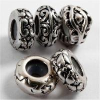 Perle en métal - liens -, d: 10 mm, diamètre intérieur 2 mm, argenté, 10 pièce/ 1 Pq.