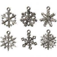 Flocons de neige, H: 20 mm, diamètre intérieur 1,5 mm, argent antique, 18 ass./ 1 Pq.