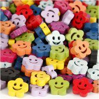 Perles en bois designs, d: 13 mm, diamètre intérieur 1 mm, couleurs assorties, 100 gr/ 1 Pq.