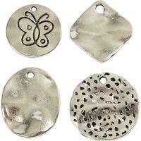 Breloques modes, d: 21-28 mm, diamètre intérieur 2-3 mm, argent antique, 40 ass./ 1 Pq.
