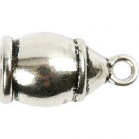 Embouts, dim. 11x20 mm, diamètre intérieur 6 mm, argent antique, 40 pièce/ 1 Pq.