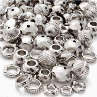 Mix argenté, dim. 5-20 mm, diamètre intérieur 2-6 mm, 155 gr/ 1 Pq.
