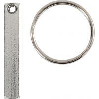Kit monture porte-clés, dim. 40x5 mm, 6 pièce/ 1 Pq.