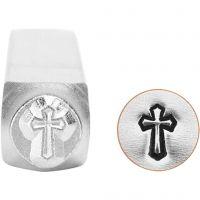 Tampon relief, Croix, L: 65 mm, dim. 6 mm, 1 pièce