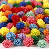 Perles fleurs, dim. 15x8 mm, diamètre intérieur 1,5 mm, couleurs assorties, 10x25 pièce/ 1 Pq., 300 ml
