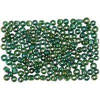 Rocailles, d: 3 mm, dim. 8/0 , diamètre intérieur 0,6-1,0 mm, vert brillant, 500 gr/ 1 Pq.