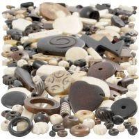 Mix de perles en os, dim. 5-30 mm, diamètre intérieur 1-2 mm, 300 gr/ 1 Pq.