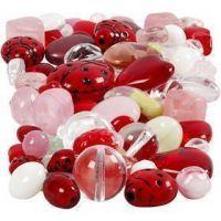Perles de verre, Coccinelles, feuilles, coeurs, dim. 5-22 mm, diamètre intérieur 0,5-1,5 mm, couleurs assorties, 60 gr/ 1 Pq.