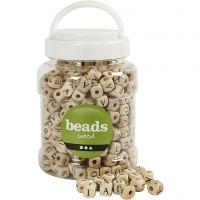 Perles en bois, dim. 9x9x9 mm, diamètre intérieur 3 mm, 400 ml/ 1 seau, 185 gr