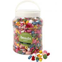 Perles en bois, dim. 5-28 mm, diamètre intérieur 2,5-3 mm, couleurs assorties, 2 L/ 1 seau, 850 gr