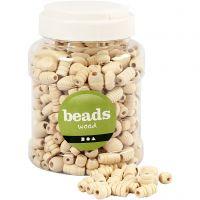 Perles en bois, dim. 5-28 mm, diamètre intérieur 2,5-3 mm, 400 ml/ 1 seau, 175 gr