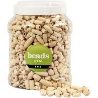 Perles en bois, dim. 5-28 mm, diamètre intérieur 2,5-3 mm, 2 L/ 1 seau, 850 gr