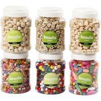 Perles en bois, d: 5-25 mm, 6x400 ml/ 1 Pq., 6x200 gr