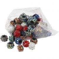 Perles en Rhinestone pierres de strass, dim. 9x13 mm, diamètre intérieur 5 mm, couleurs assorties, 6x10 pièce/ 1 Pq.