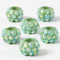 Breloques pierres de strass, dim. 9x13 mm, diamètre intérieur 5 mm, vert, 6 pièce/ 1 Pq.