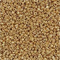 Rocailles, d: 1,7 mm, dim. 15/0 , diamètre intérieur 0,5-0,8 mm, laiton, 25 gr/ 1 Pq.