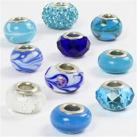 Breloques en verre, d: 13-15 mm, diamètre intérieur 4,5-5 mm, harmonie de bleus, 10 ass./ 1 Pq.
