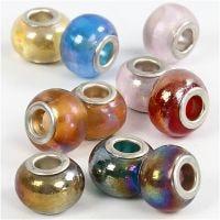 Breloques en verre, d: 13-15 mm, diamètre intérieur 4,5-5 mm, 10 ass./ 1 Pq.