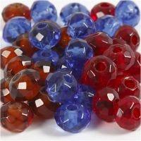 Breloques à facettes, dim. 9x14 mm, diamètre intérieur 4 mm, bleu, brun, rouge, 36 pièce/ 1 Pq.