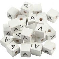 Perles lettres, A, dim. 8x8 mm, diamètre intérieur 3 mm, blanc, 25 pièce/ 1 Pq.