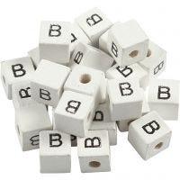 Perles lettres, B, dim. 8x8 mm, diamètre intérieur 3 mm, blanc, 25 pièce/ 1 Pq.