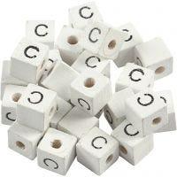 Perles lettres, C, dim. 8x8 mm, diamètre intérieur 3 mm, blanc, 25 pièce/ 1 Pq.