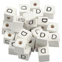 Perles lettres, D, dim. 8x8 mm, diamètre intérieur 3 mm, blanc, 25 pièce/ 1 Pq.