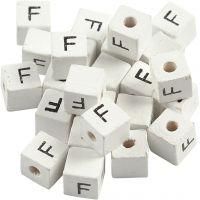 Perles lettres, F, dim. 8x8 mm, diamètre intérieur 3 mm, blanc, 25 pièce/ 1 Pq.