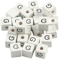 Perles lettres, G, dim. 8x8 mm, diamètre intérieur 3 mm, blanc, 25 pièce/ 1 Pq.