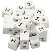 Perles lettres, H, dim. 8x8 mm, diamètre intérieur 3 mm, blanc, 25 pièce/ 1 Pq.