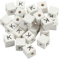 Perles lettres, K, dim. 8x8 mm, diamètre intérieur 3 mm, blanc, 25 pièce/ 1 Pq.