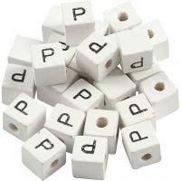 Perles lettres, P, dim. 8x8 mm, diamètre intérieur 3 mm, blanc, 25 pièce/ 1 Pq.