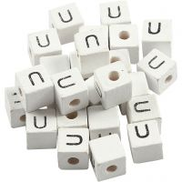 Perles lettres, U, dim. 8x8 mm, diamètre intérieur 3 mm, blanc, 25 pièce/ 1 Pq.