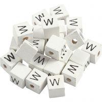 Perles lettres, W, dim. 8x8 mm, diamètre intérieur 3 mm, blanc, 25 pièce/ 1 Pq.
