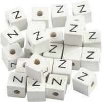 Perles lettres, Z, dim. 8x8 mm, diamètre intérieur 3 mm, blanc, 25 pièce/ 1 Pq.