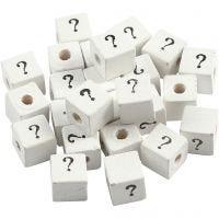 Perle signe, ?, dim. 8x8 mm, diamètre intérieur 3 mm, blanc, 25 pièce/ 1 Pq.
