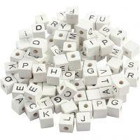 Perles lettres, A-Z, &, #, ?, dim. 8x8 mm, diamètre intérieur 3 mm, blanc, 96 ass./ 1 Pq.