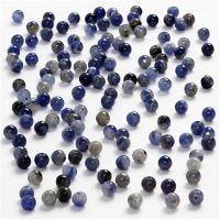 Perles en pierre, d: 3 mm, diamètre intérieur 0,5-0,7 mm, bleu, 120 pièce/ 1 Pq.