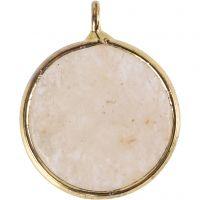 Bijou pendentif, Pierre semi-précieuse: pierre de jade beige, d: 15 mm, diamètre intérieur 2 mm, beige, 1 pièce
