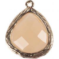 Bijou pendentif, dim. 15x18 mm, diamètre intérieur 1 mm, beige, 1 pièce