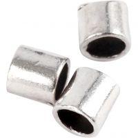 Tubes à pincer, dim. 2x2 mm, diamètre intérieur 1,4 mm, argenté, 80 pièce/ 1 Pq.