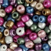 Rocailles, d: 5 mm, dim. 4/0 , diamètre intérieur 1,2 mm, couleurs métalliques, 720 gr/ 1 boîte