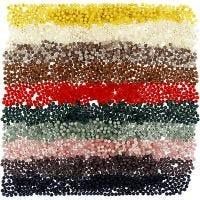 Perles en plastique, d: 6 mm, diamètre intérieur 1,5 mm, couleurs assorties, 10x40 gr/ 1 Pq.