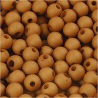 Perles en plastique, d: 6 mm, diamètre intérieur 2 mm, brun, 40 gr/ 1 Pq.